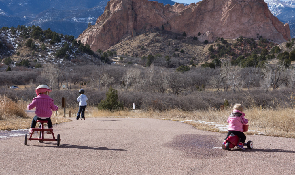 Kids riding bikes at Garden of the Gods
