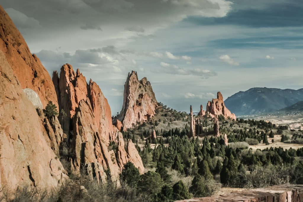 Looking southward at Garden of the Gods. The Cathedral Spires and Three Graces are at center.