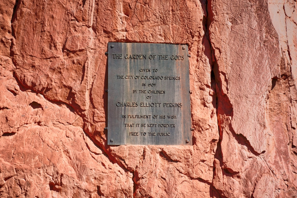 Charles Elliot Perkins plaque at Garden of the Gods