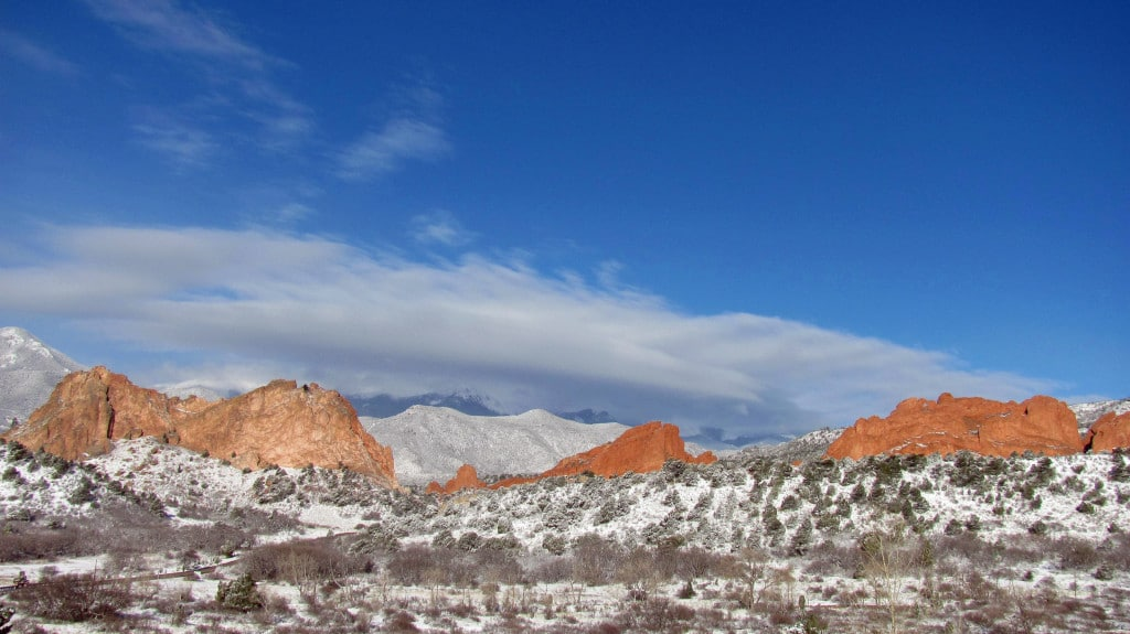 A snowy Garden of the Gods from Visitor Center