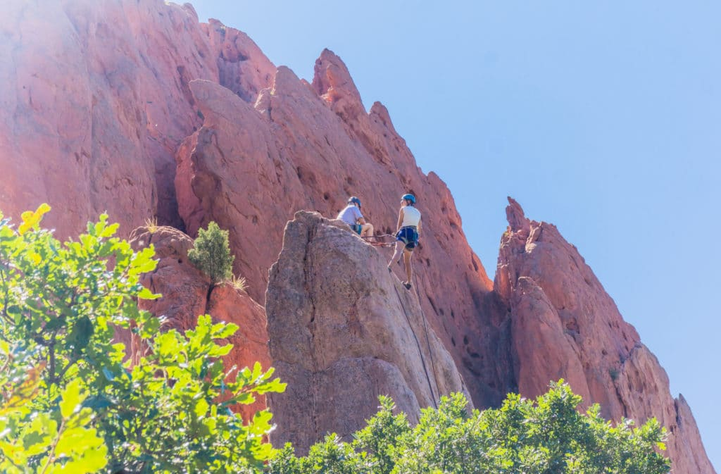 Garden of the Gods Colorado rock climbing couple