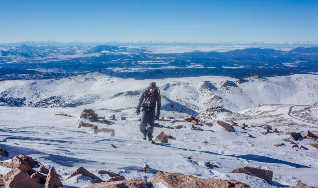 Hiking Pikes Peak in Winter