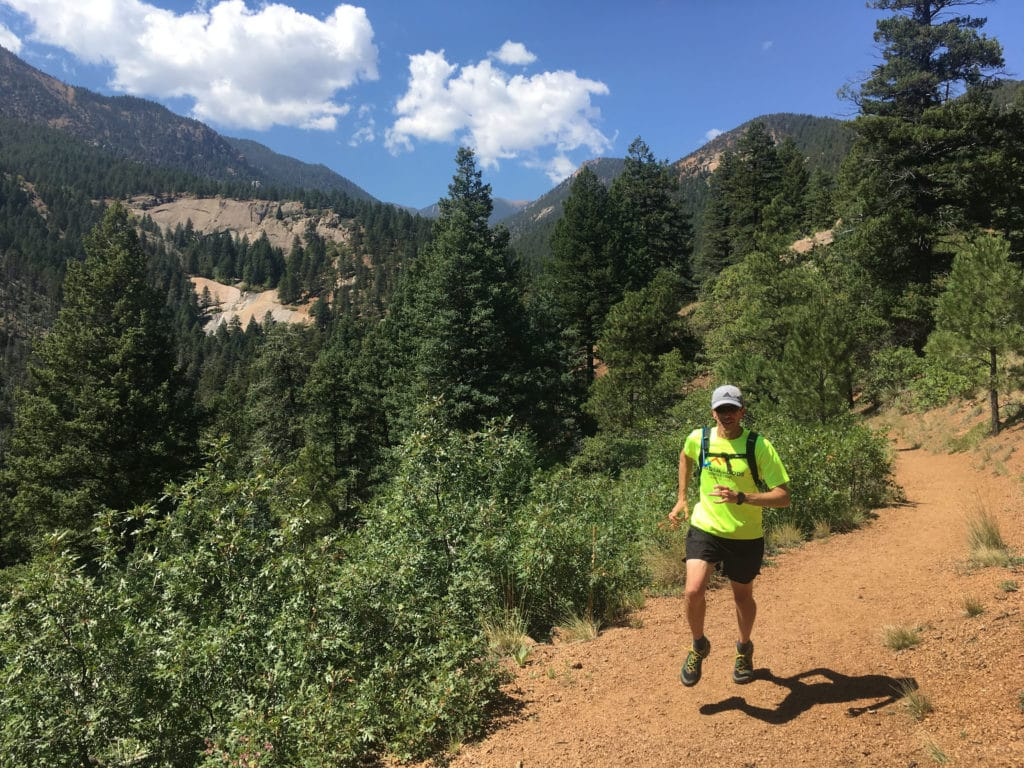 Trail running Cheyenne Canyon
